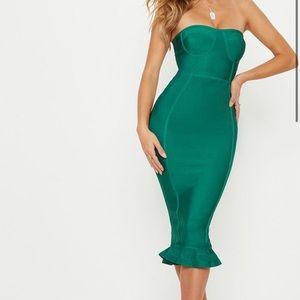 Emerald green midi bandage dress
